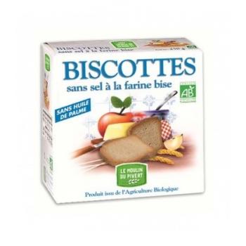 LE MOULIN DU PIVERT - Biscottes à la farine bise sans sel et sans sucres ajouté bio & vegan