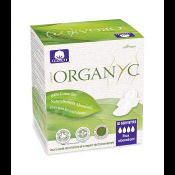 ORGANYC - Serviettes ultra fines super à ailettes en pochette individuelle 100% coton bio