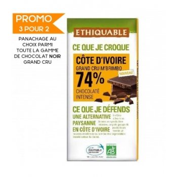 ETHIQUABLE - Chocolat Noir Grand Cru M'Brimbo 74% bio & équitable