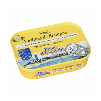 PHARE D'ECKMÜHL - Sardines de Bretagne à l'huile d'olive vierge extra bio et au citron bio