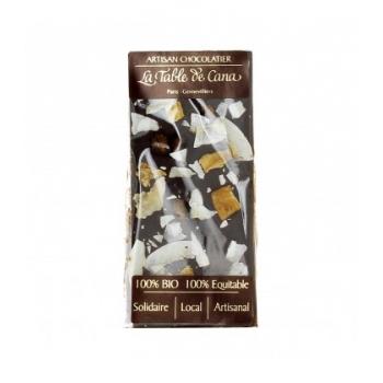 Chocolat noir 72% noix de coco, banane, mangue bio