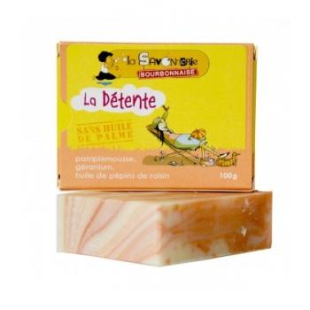 """LA SAVONNERIE BOURBONNAISE Savon """"La Détente Pamplemousse"""" au pamplemousse, géranium & huile de pépins de raisin 100% bio"""