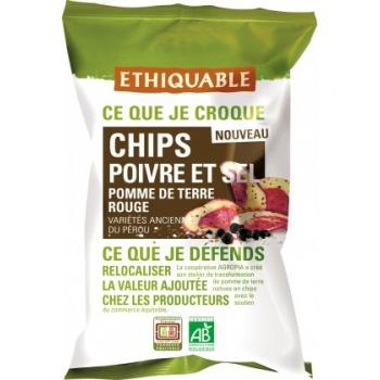 ETHIQUABLE Chips Poivre et Sel de Pomme de Terre Rouge - bio & équitable