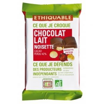 Carré à croquer au chocolat au lait 42% noisette entière - bio & équitable
