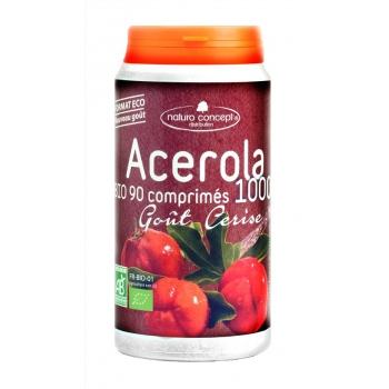 Acérola 1000 bio - arômebio fruit rouge- 90 comprimés 17% de vitamine c