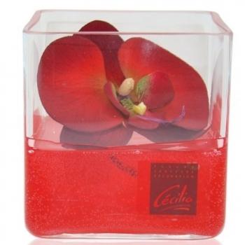 Décoration cube limpide - fleur d'orchidée rouge - Cécilia création