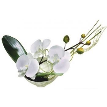 Décoration florale - bol porcelaine orchidée blanc - Cécilia création