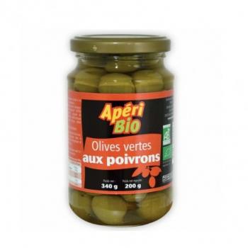 Olives vertes aux poivrons 340g (poids net égoutté 200g)  Apéri bio