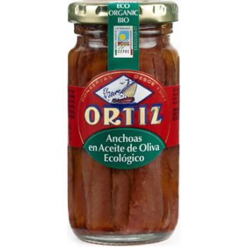 Filets d'anchois a l' huile d'olive bio bocal verre 95g ORTIZ