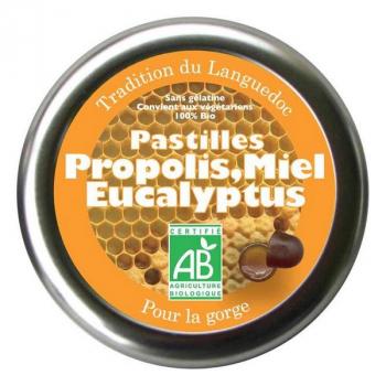 AROMANDISE - Pastilles bio à la propolis, miel et eucalyptus pour la gorge 45g