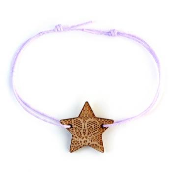 Bracelet Etoile - motif dentelle - en bois et nylon- LES FOLLES MARQUISES