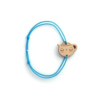 Bracelet Théière en bois et nylon- LES FOLLES MARQUISES
