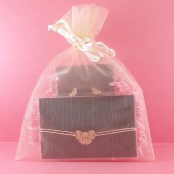 Pochette cadeau-Bijoux-Puces d'oreilles + Bracelet-Noeud papillon- LES FOLLES MARQUISES