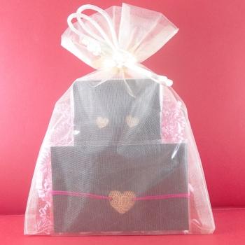 Pochette cadeau-Bijoux-Puces d'oreilles + Bracelet-Coeurs- LES FOLLES MARQUISES
