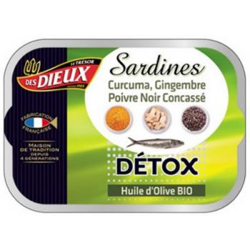 Sardines Detox à l'huile d'olive, curcuma, gingembre et poivre noir, 115 g
