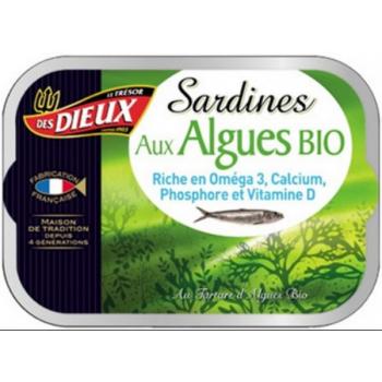 Sardines aux algues Bio, 115 g