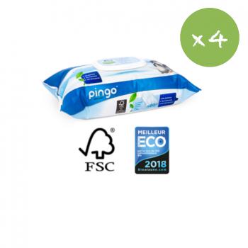 PINGO lingettes ecologiques - pack x 4 soit 320 lingettes