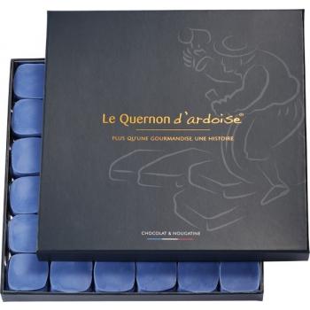 Chocolat bleu et nougatine aux amandes et noisettes caramélisées (Le Quernon d'Ardoise), 550 g