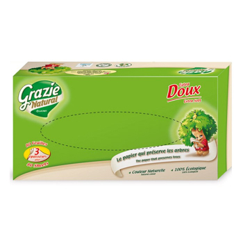 Boite de mouchoirs en papier recyclé 3 plis - 80 feuilles