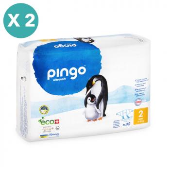 PINGO couches écologiques jetables t2 (3-6 kg) - pack x 2 sachets soit 84 couches