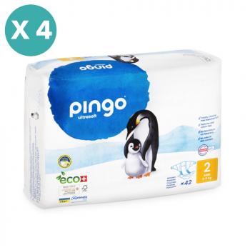 PINGO couches écologiques jetables t2 (3-6 kg) - pack x 4 sachets soit 168 couches