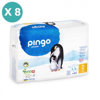 PINGO couches écologiques jetables t2 (3-6 kg) - pack x 8 sachets soit 336 couches