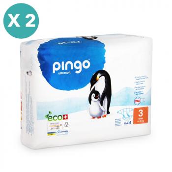 PINGO couches écologiques jetables t3 (4-9 kg) - pack x 2 sachets soit 88 couches