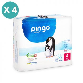 PINGO couches écologiques jetables t4 (9-18 kg) - pack 4 sachets soit 160 couches