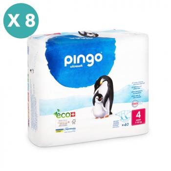PINGO couches écologiques jetables t4 (9-18 kg) - pack 8 sachets soit 320 couches