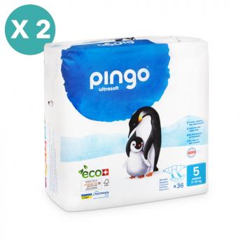 PINGO couches écologiques jetables t5 (11-25 kg) - pack 2 sachets soit 72 couches