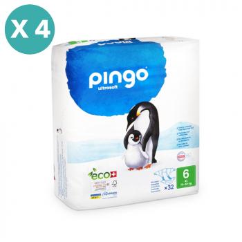 PINGO couches écologiques jetables t6 (16-30 kg) - pack 4 sachets soit 128 couches