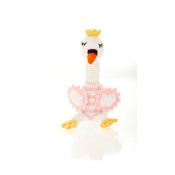 Cygne rose - hochet en crochet de coton équitable Pebble