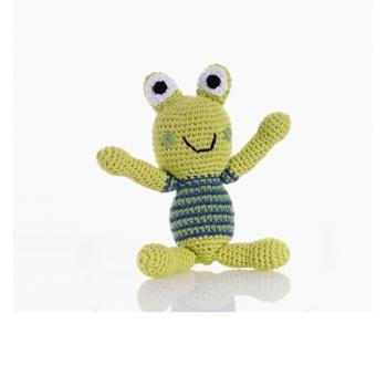 Grenouille - jouet hochet en crochet de coton équitable Pebble