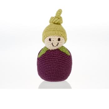 Aubergine - jouet hochet en crochet de coton équitable Pebble