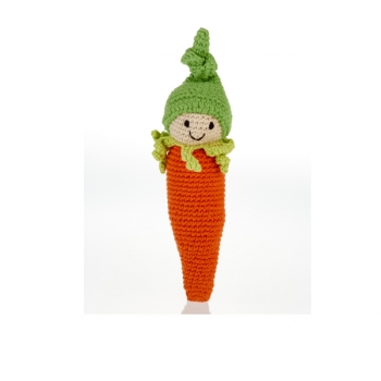 Carotte - jouet hochet en crochet de coton équitable Pebble