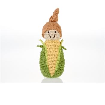 Maïs - jouet hochet en crochet de coton équitable Pebble