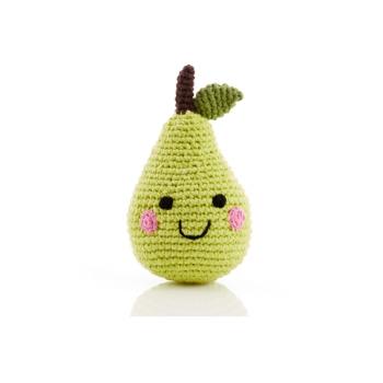 Poire - jouet hochet en crochet de coton équitable Pebble
