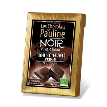 Tablette de chocolat noir 100% de cacao.   , 70 g