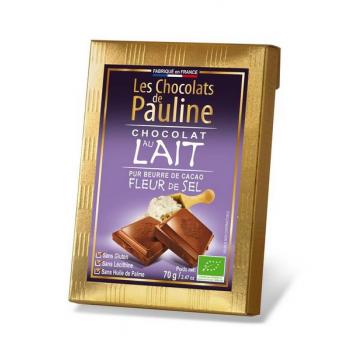 Tablette de chocolat de couverture au lait à la fleur de sel, 70 g