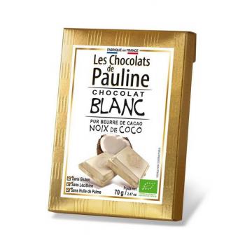 Tablette de chocolat blanc à la noix de coco, 70 g