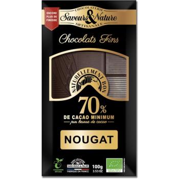 Tablette de chocolat noir 70% de cacao au nougat de Montélimar, 100 g