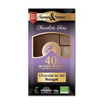 Tablette de chocolat de couverture au lait au nougat de Montélimar., 100 g