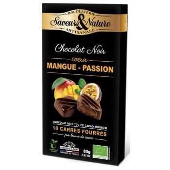 Carrés de chocolat noir fourrés passion-mangue, 80 g