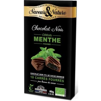 Carrés de chocolat noir 70% de cacao minimum fourrés à la menthe poivrée, 80 g