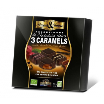 Chocolat noir fourré au caramel (vanille framboise fleur de sel) 16 pcs, 125 g