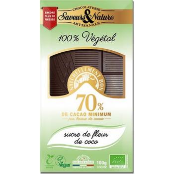 Tablette de chocolat noir 70% de cacao à la fleur de sucre de coco, 100 g