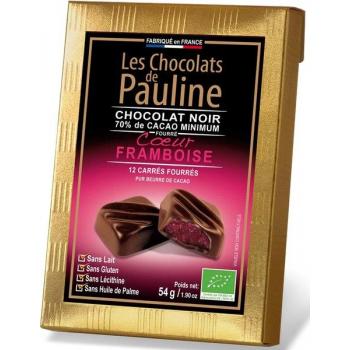 Carré de chocolat noir 70% de cacao fourrée à la Framboise, 54 g