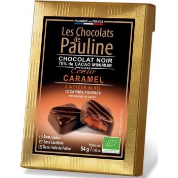 Carré de chocolat noir 70% de cacao fourrée au caramel à la fleur de sel de Guérande, 54 g