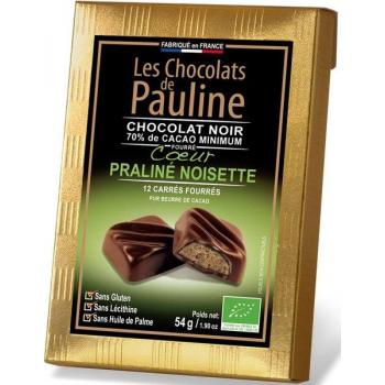 Carré de chocolat noir 70% de cacao fourrée au praliné noisette, 54 g