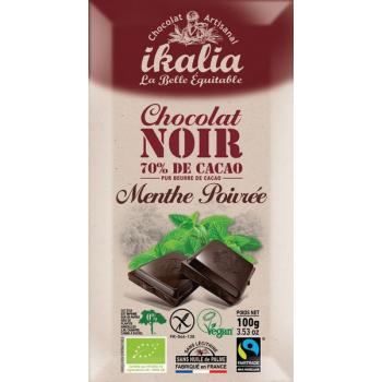 Tablette de chocolat noir 70% de cacao à la menthe poivrée, 100 g